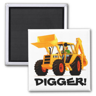 Yellow Digger Square Magnet