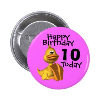 Yellow Duck Birthday 10 6 Cm Round Badge