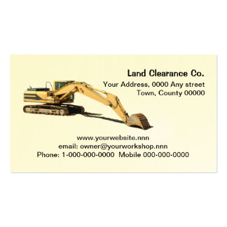Yellow excavator cut out with resting bucket pack of standard business cards