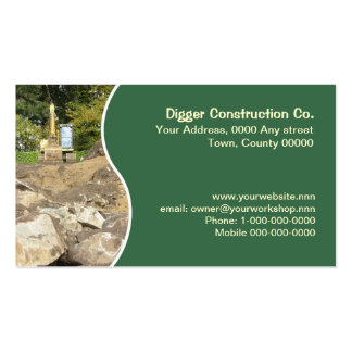 Yellow excavator with green panel pack of standard business cards