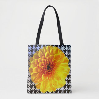 Yellow flower on houndstooth tote bag