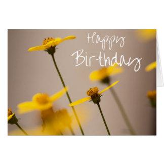 Yellow Flowers Happy Birthday Card