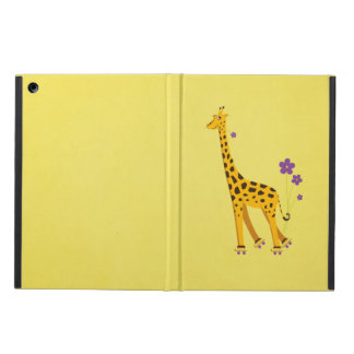 Yellow Funny Giraffe Roller Skating Folio Cover For iPad Air