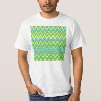 Yellow Green & Blue Zig Zag Pattern T-Shirt