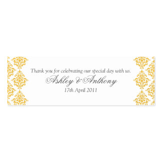 Yellow Grey White Damask Wedding Favour Tags Pack Of Skinny Business Cards