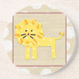 Yellow Lion with White Polka Dots Sandstone Coaster