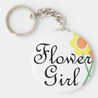 Yellow Orange Daisy Flower Girl Basic Round Button Key Ring
