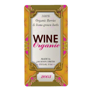 Yellow Pink Fractals Custom Wine Bottle Labels