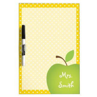 Yellow Polka Dot Teacher's Green Apple Dry Erase Whiteboards
