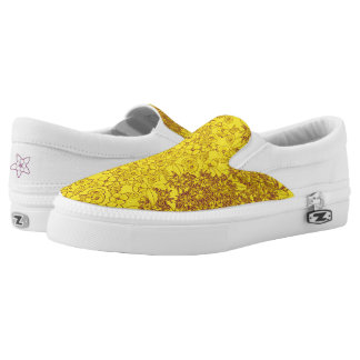 Yellow & Purple Floral Print by Aleta Printed Shoes