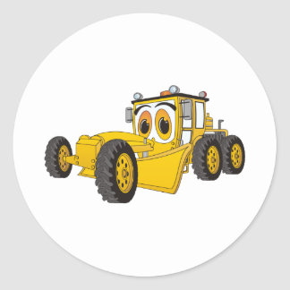 Yellow Road Grader Cartoon Round Sticker