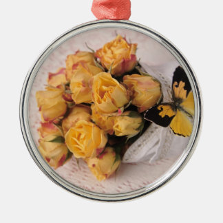 yellow roses with butterfly premium round ornament