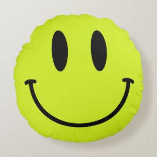 Yellow Smiley Face Round Throw Pillow Round Cushion