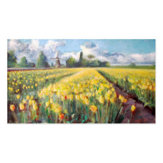 Yellow Spring Tulips Flowers Impressionist Art Pack Of Standard Business Cards