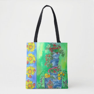 Yellow Sunflower Ladybugs Watercolor Flowers Tote Bag