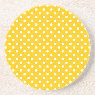 Yellow with white polka dots beverage coaster