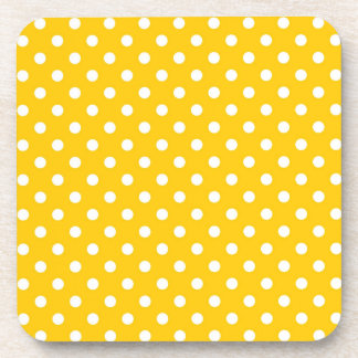Yellow with white polka dots drink coaster
