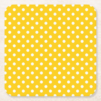 Yellow with white polka dots square paper coaster
