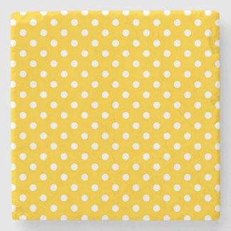 Yellow with white polka dots stone beverage coaster