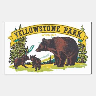 Yellowstone Park Wyoming, Vintage Rectangular Sticker