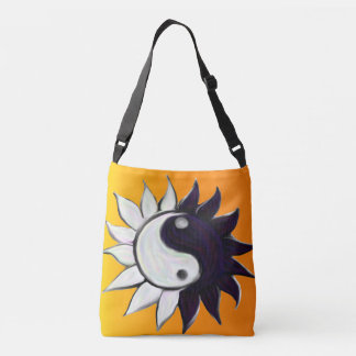 Yin-Yang Flower with Yellow to Orange Background Tote Bag