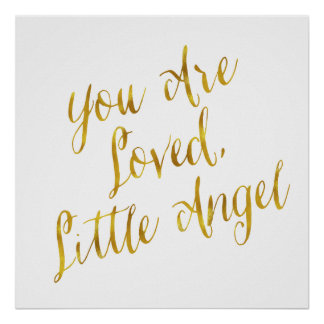 You Are Loved Angel Quote Faux Gold Foil Sparkly Poster