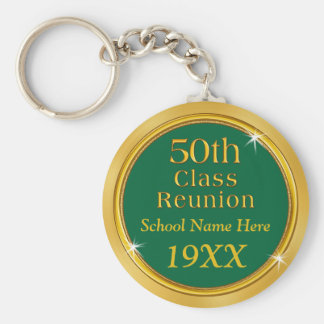 Your COLORS and TEXT 50th Class Reunion Favors Basic Round Button Key Ring