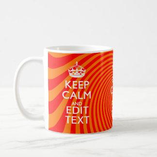 Your Keep Calm Saying on Vibrant Orange Swirl Basic White Mug