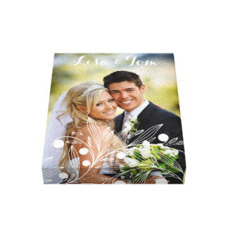 Your Name and Photo with White Floral Patter Canvas Print