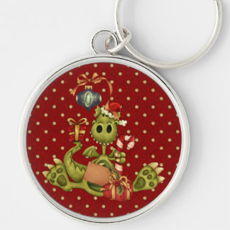 Yule Dragon Silver-Colored Round Key Ring