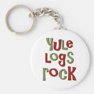 Yule Logs Rock Christmas Design Basic Round Button Key Ring