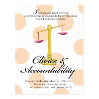 YW Value Card -Choice and Accountability Postcard