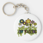 YW Value Flowers Basic Round Button Key Ring