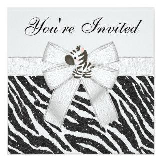 Zebra & Animal Print Black & White Glitter Party 13 Cm X 13 Cm Square Invitation Card