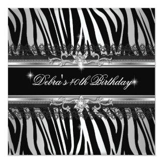 Zebra Black Silver White 40th Birthday Party 13 Cm X 13 Cm Square Invitation Card