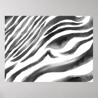 Zebra black/white water poster