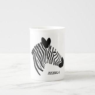 Zebra head illustration black white bone china mug