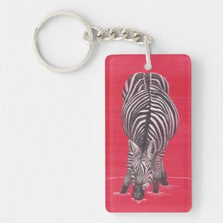 Zebra in Red Keychain
