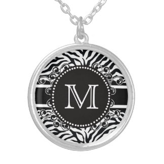 Zebra Pattern with Monogram Cool and Bold Round Pendant Necklace
