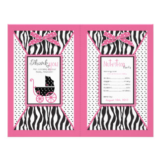 Zebra Print & Baby Carriage Favor Wrapper 21.5 Cm X 28 Cm Flyer