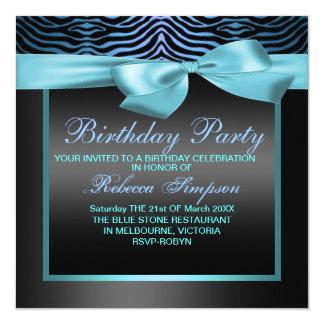 Zebra Print Blue & Black Party Birthday Invitation
