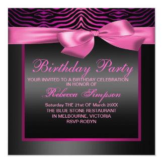 Zebra Print Pink & Black Party Birthday Invitation
