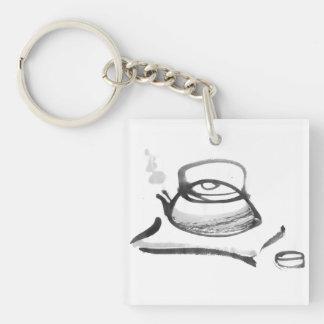 Zen Teapot Single-Sided Square Acrylic Key Ring