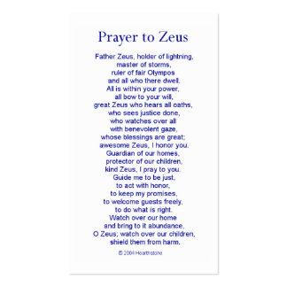 Zeus Prayer Card Pack Of Standard Business Cards