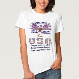 "Zika Virus Stinger reads ""Human Life"" Front&Back T Shirt"