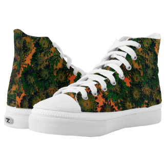 Zipz High Top Shoes Abstract Green & Orange Floral Printed Shoes