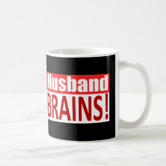 Zombie Husband Loves Brains BUMPER Design Basic White Mug