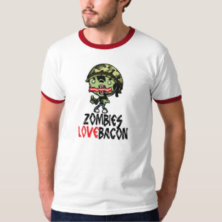 Zombies Love Bacon Shirt GREY / RED STRIPE