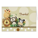 ZOO CREW Animals (Tan) Folded thank you note Note Card