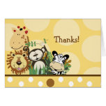 ZOO CREW Animals (Yellow) Folded thank you note Note Card